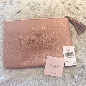 Kate spade ♠️ large tassel pouch sienne logo